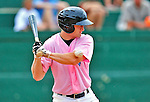 "18 July 2010: Vermont Lake Monsters infielder Justin Miller is hit by a pitch during game action against the Staten Island Yankees at Centennial Field in Burlington, Vermont. The Lake Monsters, dressed in their Breast Cancer Awareness ""Pinks"", fell to the Yankees 9-5 in NY Penn League action. Mandatory Credit: Ed Wolfstein Photo"