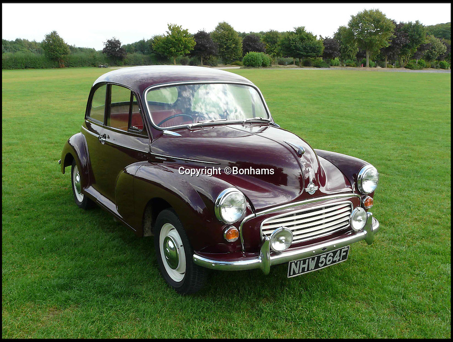 BNPS.co.uk (01202 558833)<br /> Pic: Bonhams/BNPS<br /> <br /> ***Please use full byline***<br /> <br /> A humble Morris Minor which used to belong to the future Countess of Wessex and was later sold for scrap has emerged for sale for &pound;7,000.<br /> <br /> The British-built maroon motor was Sophie Rhys-Jones's first car and was bought for her in 1988 by her then boyfriend, businessman Jeremy Barkley.<br /> <br /> Sophie, a 23-year-old public relations officer at the time, sold the vintage 1968 car the same year before it fell into disrepair in the hands of another owner.<br /> <br /> Following Sophie's marriage to Prince Edward at Windsor Castle in 1999, the Morris Minor 1000 was the subject of an article in The Sunday Mirror.<br /> <br /> Experts at Bonhams expect it to fetch &pound;7,000 when it goes under the hammer.
