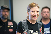 NWA Democrat-Gazette/CHARLIE KAIJO Cindy Vandeort of Spring dale, club vice-president, speaks to club members at the Heritage Indian Motorcycle club and show room in Rogers, AR on Saturday, September 9, 2017. The Indian riders gathered to discuss plans for the upcoming Bikes, Blues and BBQ rally