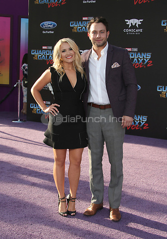 "HOLLYWOOD, CA - April 19: Emily Osment, Jonathan Sadowski, At Premiere Of Disney And Marvel's ""Guardians Of The Galaxy Vol. 2"" At The Dolby Theatre  In California on April 19, 2017. Credit: FS/MediaPunch"