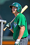 30 June 2012: Vermont Lake Monsters outfielder Dayton Alexander awaits his turn in the batting cage prior to a game against the Lowell Spinners at Centennial Field in Burlington, Vermont. Mandatory Credit: Ed Wolfstein Photo