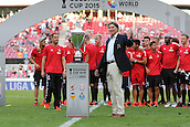02.08.2015. Cologne, Germany. Pre Season Tournament. Colonial Cup. After the game between FC Porto and Stoke City, Harald Schumacher prepares to award the Colonia Cup to inaugral champions, hosts and his old club, FC Cologne.