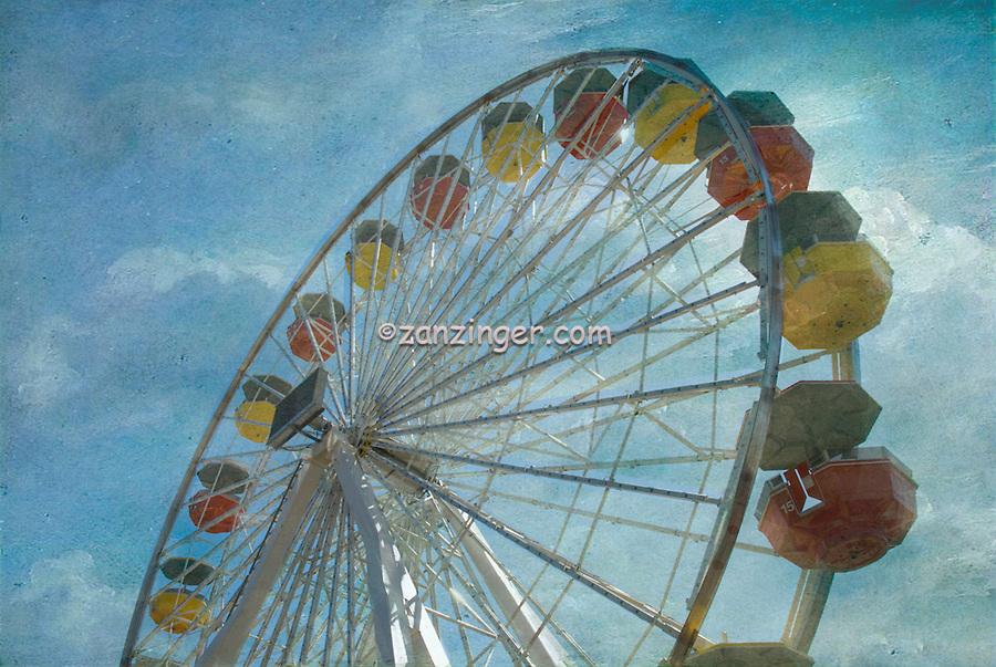 Santa Monica CA Pacific Park Ferris Wheel Antique Texture High dynamic range imaging (HDRI or HDR)