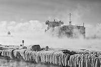 The thousand-footer, Edwin H. Gott, arrives in Two Harbors, Minnesota on a -10°F (-23°C) morning on Lake Superior to load iron ore pellets.