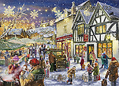 Marcello, CHRISTMAS LANDSCAPES, WEIHNACHTEN WINTERLANDSCHAFTEN, NAVIDAD PAISAJES DE INVIERNO,santa,marketplace,night,puzzle, paintings+++++,ITMCXM1422,#XL#