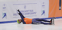 SHORTTRACK: DORDRECHT: Sportboulevard Dordrecht, 24-01-2015, ISU EK Shorttrack Winnaar 1500m Men, Sjinkie KNEGT (NED), ©foto Martin de Jong