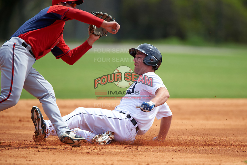 Detroit Tigers Joey Pankake (9) during a minor league Spring Training game against the Washington Nationals on March 21, 2016 at Tigertown in Lakeland, Florida.  (Mike Janes/Four Seam Images)