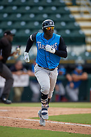 Tampa Tarpons Didi Gregorius (11), on rehab assignment from the New York Yankees, jogs to first base during a Florida State League game against the Bradenton Marauders on May 26, 2019 at LECOM Park in Bradenton, Florida.  Bradenton defeated Tampa 3-1.  (Mike Janes/Four Seam Images)