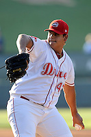 Pitcher Dedgar Jimemez (47) of the Greenville Drive delivers a pitch in a game against the Rome Braves on Monday, June 15, 2015, at Fluor Field at the West End in Greenville, South Carolina. Greenville won, 9-3. (Tom Priddy/Four Seam Images)