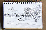 Theo's Place, Frio Cielo Ranch, ink on paper, Journal Art 2011,