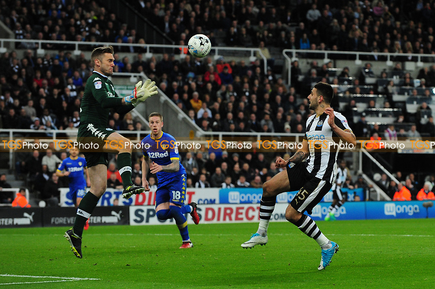 Aleksandar Mitrovic of Newcastle United lifts the ball over Robert Green of Leeds United during Newcastle United vs Leeds United, Sky Bet EFL Championship Football at St. James' Park on 14th April 2017