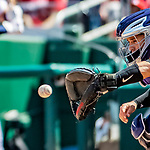 14 April 2018: Colorado Rockies catcher Tony Wolters in action against the Washington Nationals at Nationals Park in Washington, DC. The Nationals rallied to defeat the Rockies 6-2 in the 3rd game of their 4-game series. Mandatory Credit: Ed Wolfstein Photo *** RAW (NEF) Image File Available ***