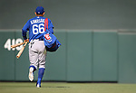Chicago Cubs' Munenori Kawasaki heads off the field during a spring training game against the Arizona Diamondbacks in Phoenix, AZ, on Thursday, March 23, 2017.<br /> Photo by Cathleen Allison/Nevada Photo Source
