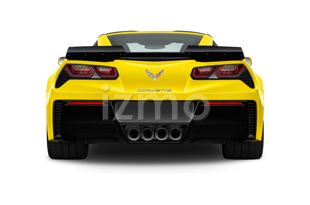 Straight rear view of 2017 Chevrolet Corvette Grand-Sport-2LT 3 Door Coupe Rear View  stock images