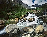 Lunch Creek cascades beneath Pollock Mountain,GLACIER NATIONAL PARK, Montana