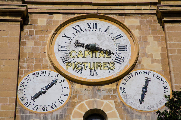 Clocks on the clock tower, Saint John?s Catholic Cathedral, Saint John?s Square, Valletta, Malta