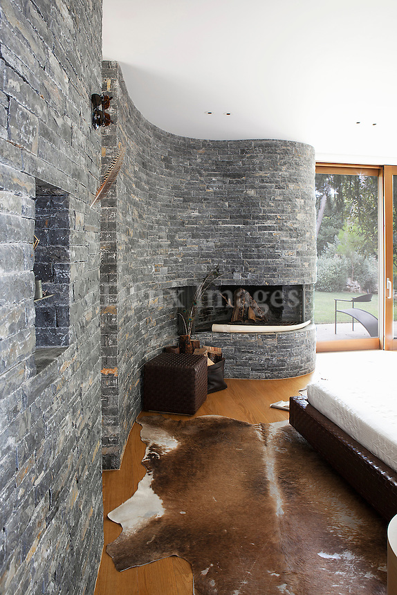stone wall in the bedroom