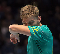 David Goffin (BEL) after match point in the final against Grigor Dimitrov (BUL). Dimitrov beat David Goffin (BEL) 2 sets to 3.  Nitto ATP Finals Tennis Championships, O2 Arena London, England,19th November 2017.