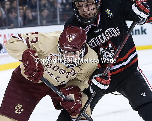 Johnny Gaudreau (BC - 13), Matt Benning (NU - 5) - The Boston College Eagles defeated the Northeastern University Huskies 4-1 (EN) on Monday, February 10, 2014, in the 2014 Beanpot Championship game at TD Garden in Boston, Massachusetts.