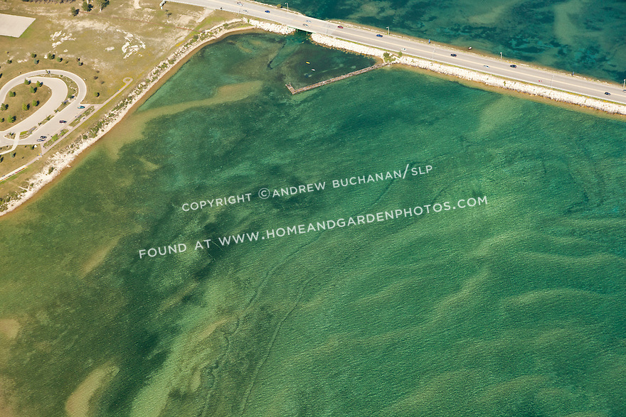sand and water patterns in Lake Huron near north approach to Mackinac Bridge, Michigan