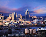 Dramatic Light On Contemporary Buildings In The Downtown Area Of Cincinnati Ohio On A Stormy Winter Evening, Taken From Devou Park In Covington Kentucky, USA