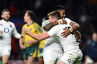 Owen Farrell of England celebrates his second half try with team-mate Manu Tuilagi. Quilter International match between England and Australia on November 24, 2018 at Twickenham Stadium in London, England. Photo by: Patrick Khachfe / Onside Images