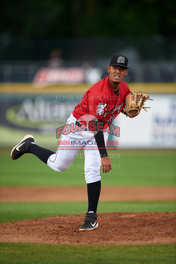 Billings Mustangs starting pitcher Carlos Carreno (34) during a Pioneer League game against the Grand Junction Rockies at Dehler Park on August 14, 2019 in Billings, Montana. Grand Junction defeated Billings 8-5. (Zachary Lucy/Four Seam Images)