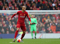 7th March 2020; Anfield, Liverpool, Merseyside, England; English Premier League Football, Liverpool versus AFC Bournemouth; Fabinho of Liverpool holds the ball in the centre circle