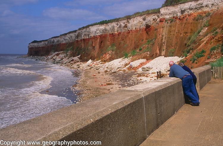 AE2KR0 Cliffs of striped sedimentary rock at Hunstanton Norfolk England