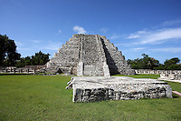Platform of the Dancers with the Pyramid of Kukulcan in the distance, Mayapan, old Maya capital, c. 1250, destroyed during civil war, 1441, Yucatan, Mexico. Picture by Manuel Cohen
