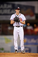Mississippi Braves starting pitcher Kyle Wright (23) gets ready to deliver a pitch during a game against the Mobile BayBears on May 7, 2018 at Trustmark park in Pearl, Mississippi.  Mobile defeated Mississippi 5-0.  (Mike Janes/Four Seam Images)