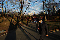 People enjoy the sunset in Central Park during the fist day of Spring in New York City. March 20, 2014. Photo by Eduardo Munoz/VIEW