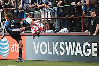 Chris Wondowloski kicks the pinata for the fans. Chivas USA defeated the San Jose Earthquakes 2-1 at Buck Shaw Stadium in Santa Clara, California on April 23rd, 2011.