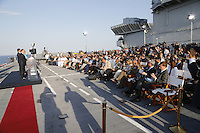 French President, Francoise Hollande , Matteo Renzi , prime minister of Italy,and German Chancellor Angela Merkel , attends at press conference  on board of Itally's Navy Garibaldi, at the of Italy - France - Germany summit in Ventotene Island 22 August 2016