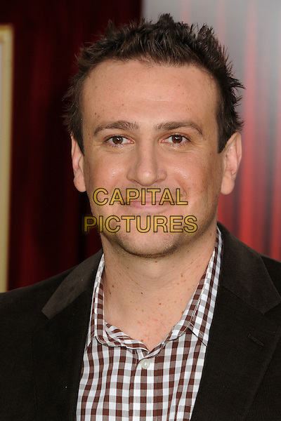 "Jason Segel.""The Muppets"" Los Angeles Premiere held at the El Capitan Theatre, Hollywood, California, USA..November 12th, 2011.headshot portrait  black white brown gingham.CAP/ADM/BP.©Byron Purvis/AdMedia/Capital Pictures."