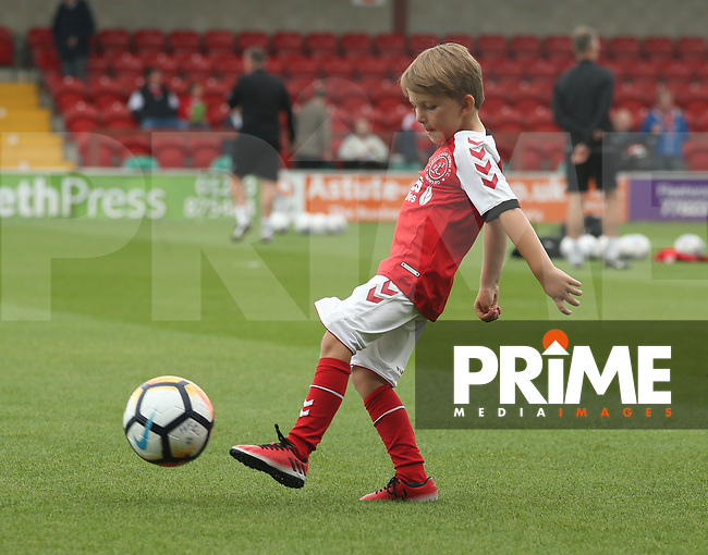 Fleetwood Town Mascots play football on the pitch ahead of the Sky Bet League 1 match between Fleetwood Town and Rochdale at Highbury Stadium, Fleetwood, England on 18 August 2018. Photo by Stephen Gaunt / PRiME Media Images.