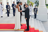 United States President Obama and First Lady Michelle Obama welcome Prime Minister Lee Hsien Loong and Mrs. Lee Hsien Loong at the North Portico of the White House in Washington, DC on Tuesday, August 2, 2016. <br /> Credit: Leigh Vogel / Pool via CNP