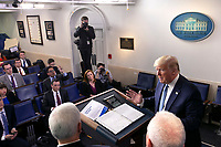 United States President Donald J. Trump, joined by members of the Coronavirus Task Force, takes questions from members of the media on the Coronavirus crisis in the Brady Press Briefing Room of the White House in Washington, DC on Saturday, March 21, 2020.  Credit: Stefani Reynolds / Pool via CNP/AdMedia