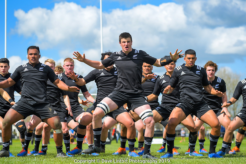 NZ captain Zach Gallagher leads the haka before the rugby union match between New Zealand Schools and Australia Under-18s at St Paul's Collegiate in Hamilton, New Zealand on Friday, 4 October 2019. Photo: Dave Lintott / lintottphoto.co.nz