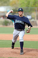 Chris Kirkland #37 of the Seattle Mariners plays in a minor league spring training game against the San Diego Padres at the Padres minor league complex on March 19, 2011  in Peoria, Arizona. .Photo by:  Bill Mitchell/Four Seam Images.