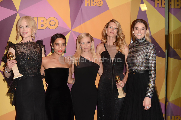 BEVERLY HILLS, CA - JANUARY 7: Nicole Kidman, Zoe Kravitz, Reese Witherspoon, Laura Dern, Shailene Woodley at the HBO Golden Globes After Party, Beverly Hilton, Beverly Hills, California on January 7, 2018. Credit: <br /> David Edwards/MediaPunch