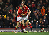 17th March 2018, Principality Stadium, Cardiff, Wales; NatWest Six Nations rugby, Wales versus France; Liam Williams of Wales celebrates his try with Gareth Davies