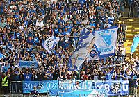 Fans der TSG 1899 Hoffenheim - 08.04.2018: Eintracht Frankfurt vs. TSG 1899 Hoffenheim, Commerzbank Arena