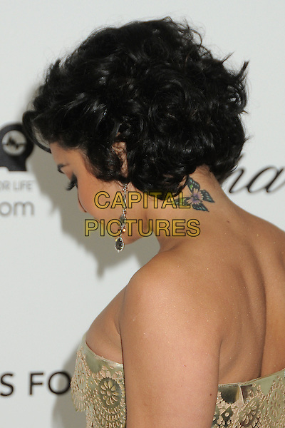Vanessa Hudgens.20th Annual Elton John Academy Awards Viewing Party held at West Hollywood Park, West Hollywood, California, USA..February 26th, 2012.oscars headshot portrait dangling earrings butterfly tattoo profile gold strapless sequins sequined .CAP/ADM/BP.©Byron Purvis/AdMedia/Capital Pictures.