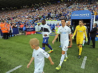 Pictured: Jack Cork and Lukasz Fabianski of Swansea City take to the pitch Saturday 27 August 2016<br />