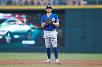 Durham Bulls first baseman Kevin Padlo (15) on defense against the Charlotte Knights at BB&T BallPark on July 31, 2019 in Charlotte, North Carolina. The Knights defeated the Bulls 9-6. (Brian Westerholt/Four Seam Images)