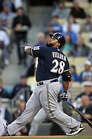 Prince Fielder #28 of the Milwaukee Brewers bats against the Los Angeles Dodgers at Dodger Stadium in Los Angeles,California on May 16, 2011. Photo by Larry Goren/Four Seam Images