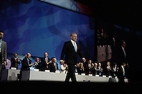 Washington, DC - March 4, 2014:  Israeli Prime Minister Benjamin Netanyahu makes his entrance before addressing attendees of the AIPAC Policy Conference March 3, 2014.   (Photo by Don Baxter/Media Images International)