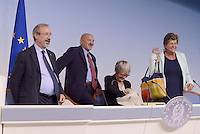 Roma, 7 Ottobre 2014<br /> Palzzo Chigi <br /> Conferenza stampa delle e dei leader sindacali al termine dell'incontro col Governo sul jobs act.<br /> Carmelo Barbagallo, Luigi Angeletti, Annamaria Furlan,Susanna Camusso.<br /> Rome, October 7, 2014 <br /> Palzzo Chigi <br /> Press conference of union's leader after the<br /> meeting with the Prime Minister  on jobs act