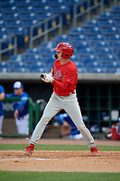 Philadelphia Phillies Hunter Markwardt (26) squares to bunt during an Instructional League game against the Toronto Blue Jays on September 23, 2019 at Spectrum Field in Clearwater, Florida.  (Mike Janes/Four Seam Images)